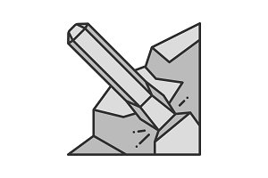 Iron chisel color icon