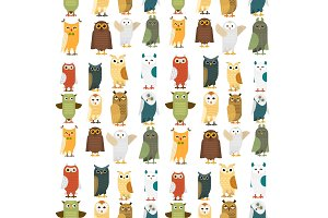 Cartoon owl bird cute character sleep sweet owlet seamless pattern background vector illustration.