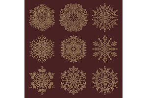 Set of Vector Snowflakes