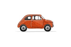 Retro red car, sketch for your design