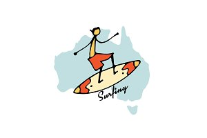 Australian surfing, sketch for your design
