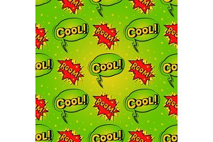 Pop art comic speech bubble boom effects vector explosion bang communication cloud fun humor book splash seamless pattern background illustration.