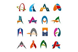 Alphabet letter A icon for business identity font