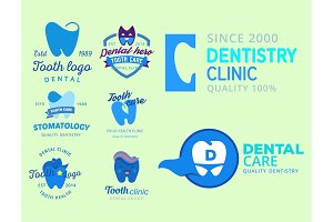 Vector dental logo protection template illustration stomatology mouth graphic oral element