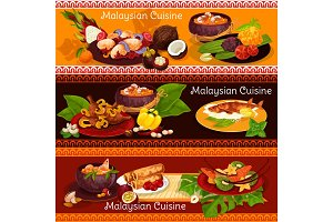 Malaysian cuisine banner for exotic asian menu