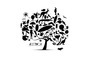 Australian map tree with icons set, sketch