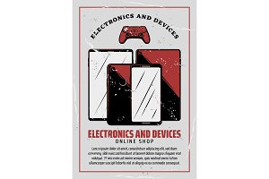 Electronic device poster of digital technology