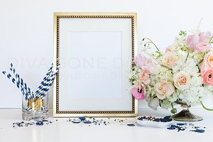 Styled Art Frame Mock Up Blush Navy