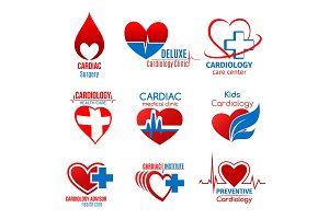 Cardiology medicine and cardiac surgery symbol