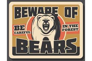 Bear animal vintage banner of hunting sport design