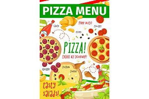 Pizza menu card for fast food restaurant, pizzeria