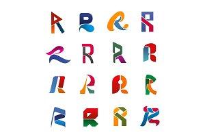 Alphabet letter R font icon, business card design