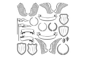 Heraldic element for medieval badge, crest design