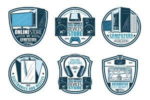Electronic device retro badge of digital gadget