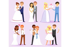 Wedding couple vector married bride or fiancee and bridegroom or fiance characters on wed illustration set of loving man and woman in weddingdress on marriage celebration isolated on background