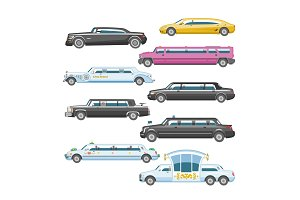 Limousine vector limo luxury car and retro auto transport and vehicle automobile illustration set of automotive transportation isolated citycar on white background illustration