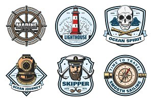 Nautical retro badge of sea anchor, helm and rope