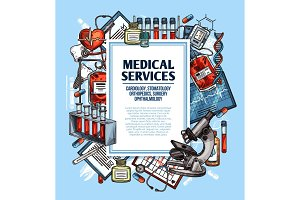 Medical service poster with medicine sketch frame