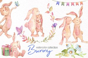 Watercolor Bunny Collection