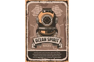 Nautical helmet retro banner for marine design