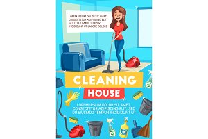 Cleaning house banner with housekeeping items