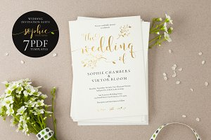 Gold Wedding Invitation Set, Sophie