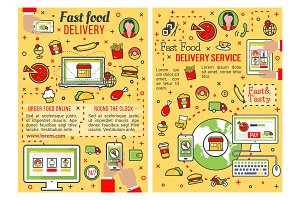Fast food delivery service thin line banner design