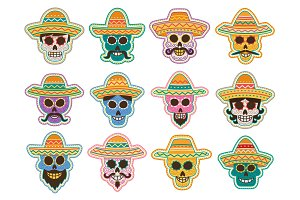 Day of the Dead skull icon, mexican holiday design