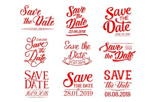 Save the Date lettering for wedding invitation