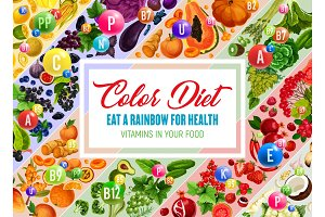 Color diet poster with fresh vegetable and fruit
