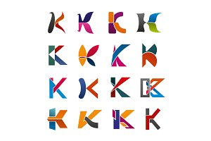 Letter K icon of abstract alphabet font design