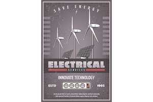 Save energy retro banner of eco power technology