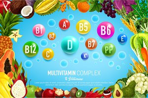 Vitamin banner with food, vegetable, fruit frame