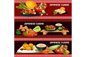 Japanese cuisine banner with asian seafood menu
