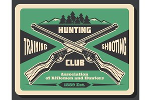Hunting club retro poster with hunter rifle weapon