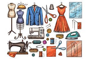 Sewing tool and tailor equipment sketch design