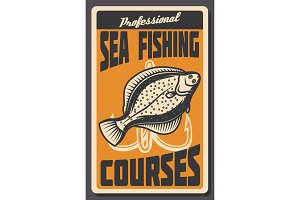 Sea fishing courses retro banner of fish and hook