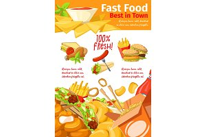Fast food restaurant banner for takeaway menu