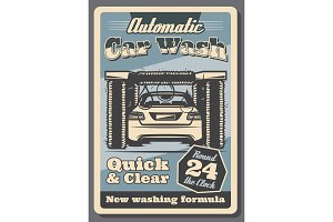 Car wash service retro poster for garage design