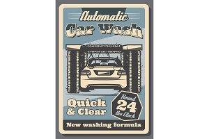 Car wash service retro poster for garage design