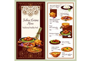 Indian cuisine restaurant menu template design