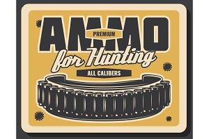 Hunting sport ammunition vintage banner design