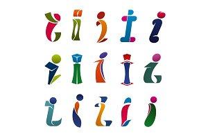 Modern font of alphabet letter I, branding design