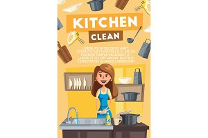 Kitchen cleaning card of housewife doing housework