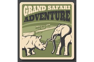 Safari animal retro poster of hunting sport design