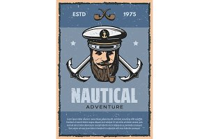 Nautical anchor and sea captain vintage banner