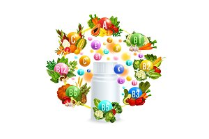 Natural vitamin with healthy food poster design