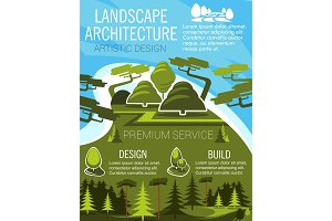 Landscape design banner with eco park green tree