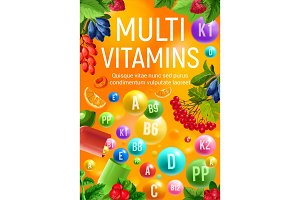 Vitamin and mineral complex banner of fresh fruit