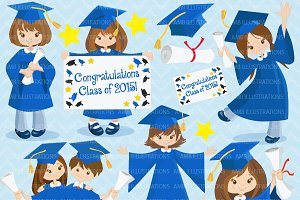 Graduation in blue clipart AMB-864